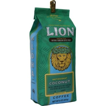 Angled view of one green, eight ounce bag of Lion coconut flavoured ground coffee, enriched with kona fruit antioxidants.