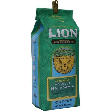 Angled view of one green, eight ounce bag of Lion vanilla macadamia flavoured ground coffee, enriched with kona fruit antioxidants.