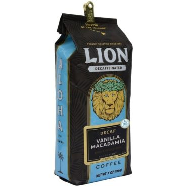 side view of Lion Swiss Water Decaf Vanilla Macadamia coffee